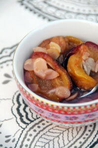 Baked Plums with Honey, Amaretto and Almonds