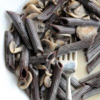 Penne Cocoa Pasta with a Creamy Mushroom Sauce
