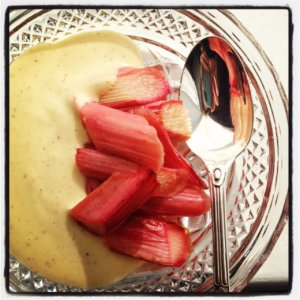Honey Roasted Rhubarb &amp; Malted Milk Custard