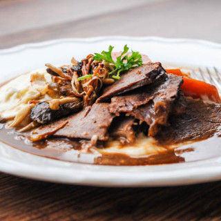 Recipe: Slow Cooked Beef Brisket with Celeriac Mash and Wild Mushrooms