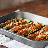 Courgette or Zucchini Boats with Bolognese Sauce {Paleo Friendly}