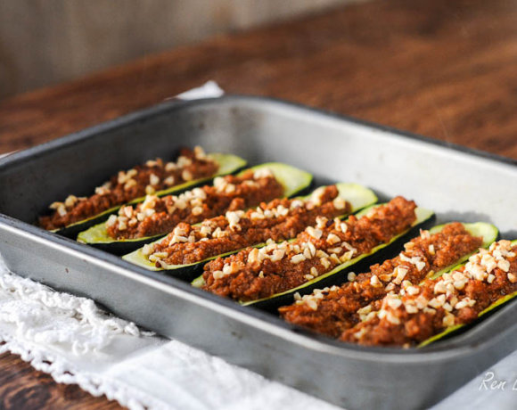 Courgette or Zucchini Boats with Bolognese Sauce
