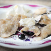 Blueberry Pierogi with Cinnamon Cream