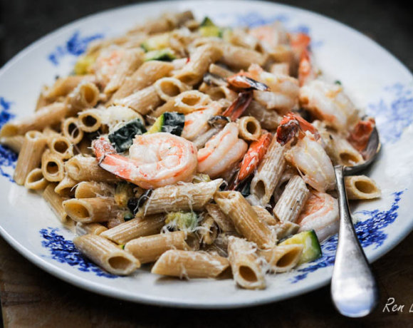 Fish is the Dish: Whole Wheat Penne with Prawns