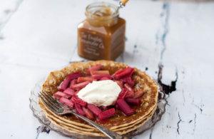 Rhubarb and Ginger Pancakes