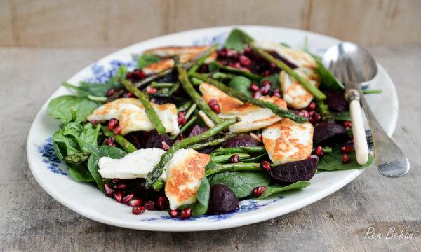 British Asparagus, Spinach, Beetroot and Halloumi Salad