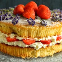 Lavender and Strawberry Sponge