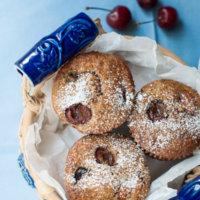 cherry-almond-spelt-muffins