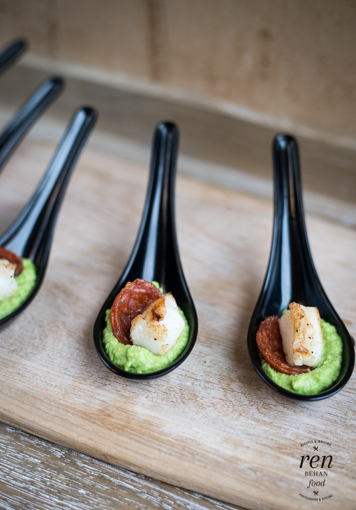 Cod, Chorizo and Pea Puree Bites