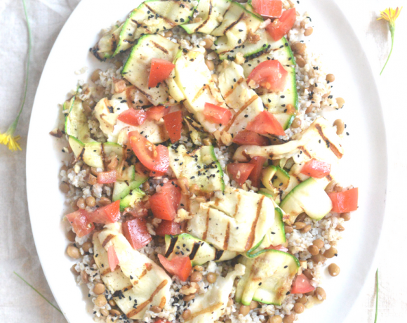 Recipe: Kasza and Lentil Salad with Griddled Courgette and Halloumi
