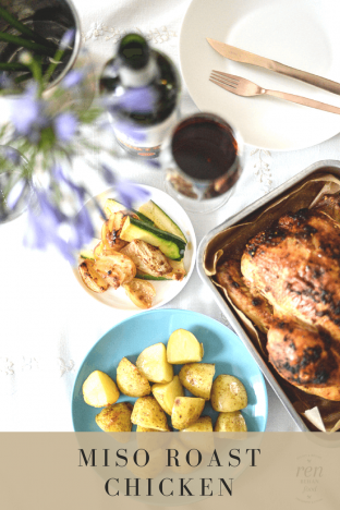Recipe: Organic Red Miso Roast Chicken with Onions, Courgette and Potatoes
