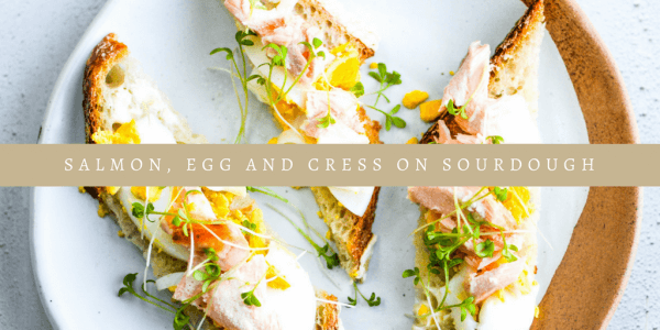Salmon, Egg and cress on sourdough