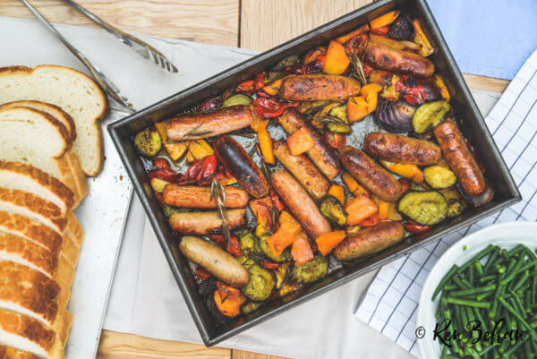 One Pan Baked Sausages and Squash