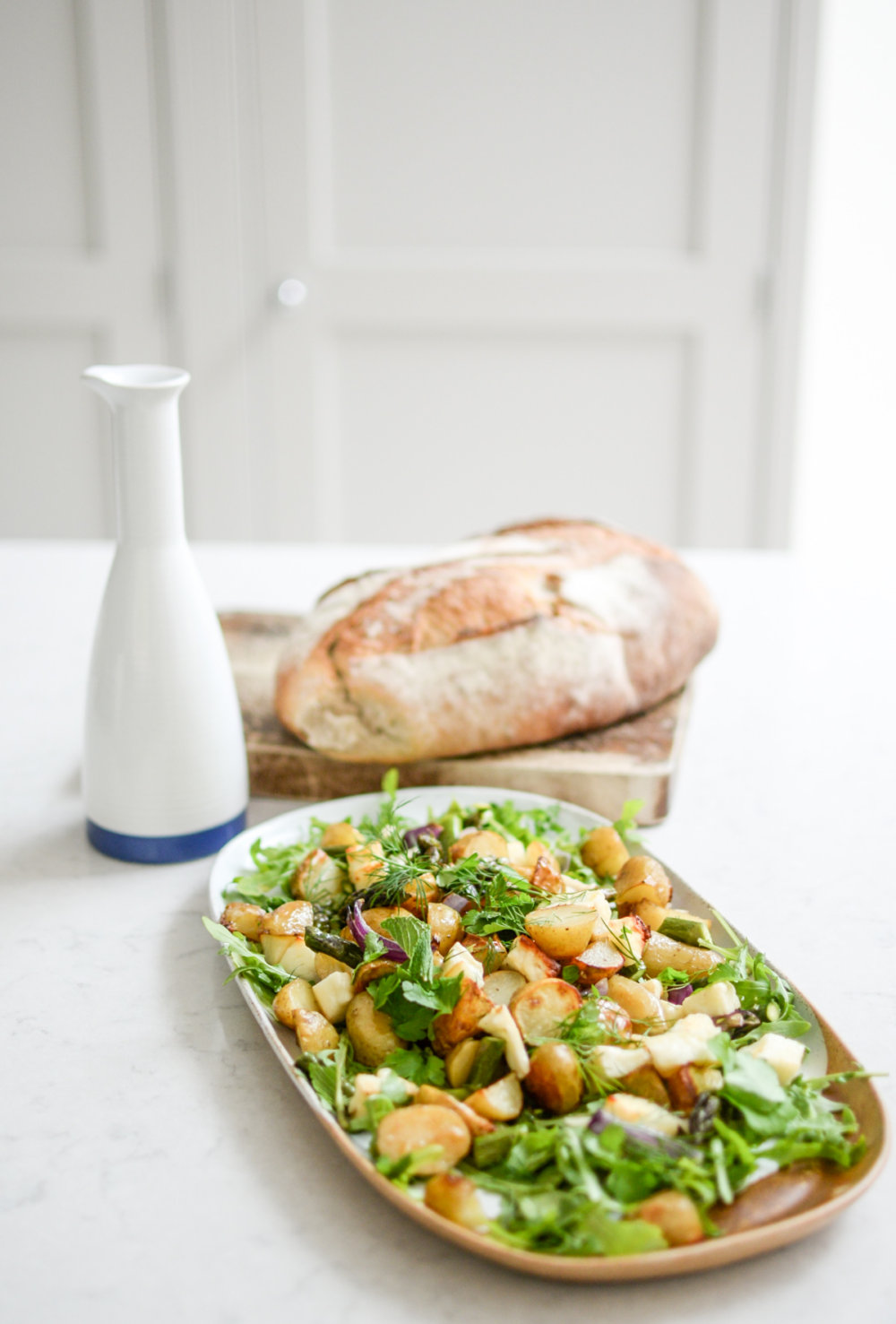 Warm New Potato, Asparagus and Halloumi Salad