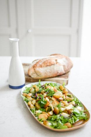 Warm New Potato, Asparagus and Halloumi Salad